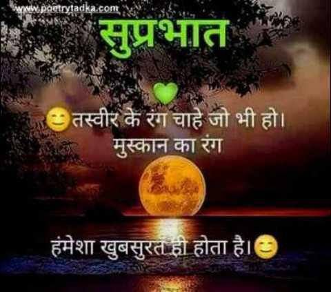 🌞 Good Morning🌞 - www . poetrytadka . com सुप्रभात तस्वीर के रंग चाहे जो भी हो । मुस्कान का रंग हमेशा खुबसुरत ही होता है । - ShareChat