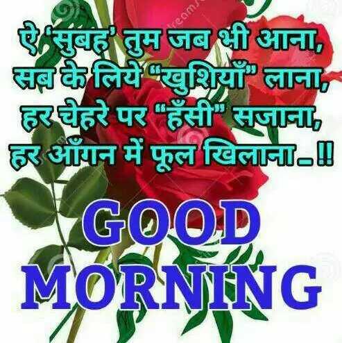 🌞Good Morning🌞 - ऐ सुबह तुम जब भी आना , सबके लिये खुशियाँ लाना , हर चेहरे पर हँसी सजाना हर आँगन में फूल खिलाना GOOD MORNING - ShareChat
