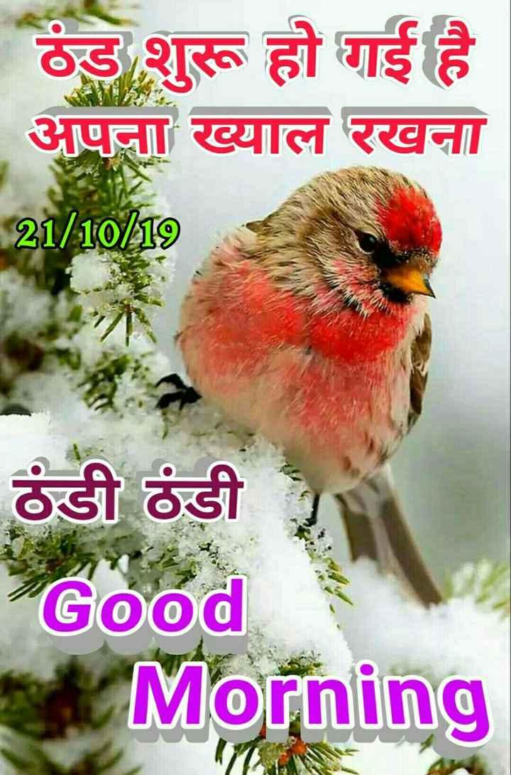 🌞 Good Morning🌞 - ठंड शुरू हो गई है अपना ख्याल रखना 21 / 10 / 19 ठंडी ठंडी Good Morning - ShareChat