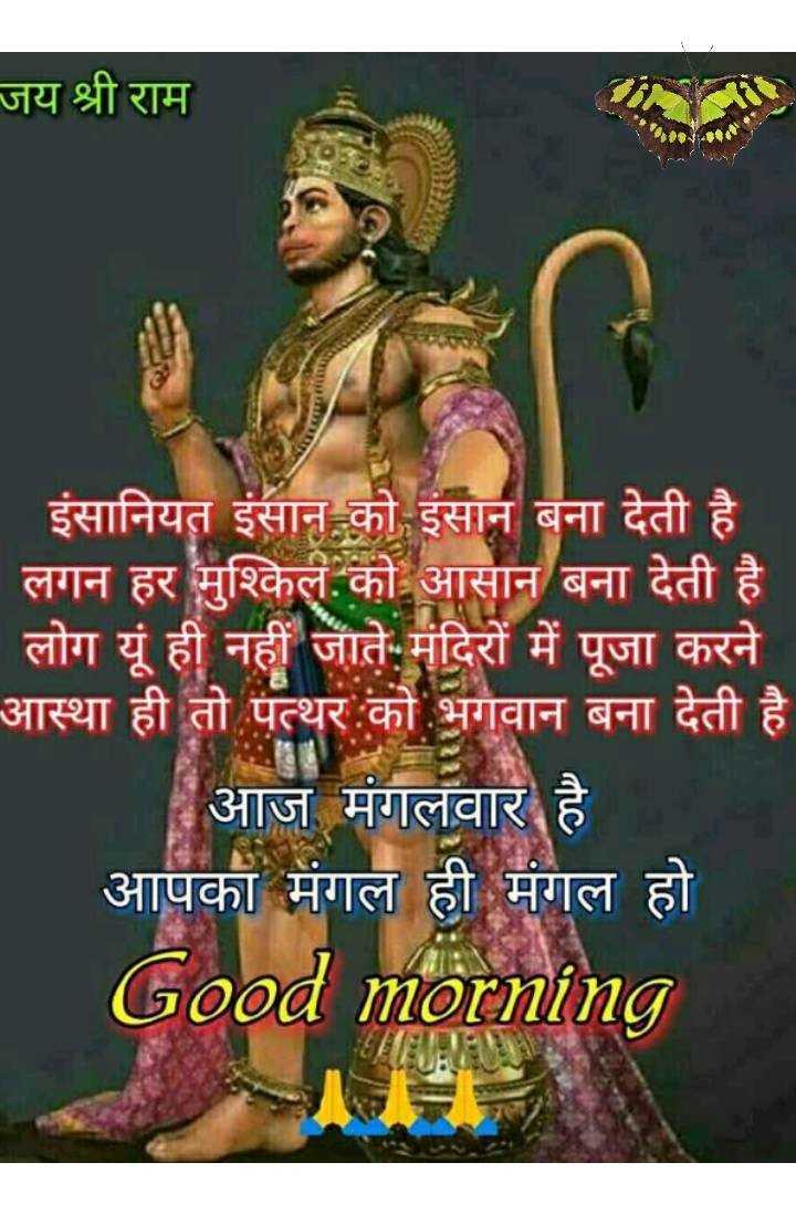 🌞 Good Morning🌞 - जय श्री राम mly इंसानियत इंसान को इंसान बना देती है ' लगन हर मश्किल को आसान बना देती है । लोग यूं ही नहीं जाते . मंदिरों में पूजा करने आस्था ही तो पत्थर को भगवान बना देती है आज मंगलवार है आपका मंगल ही मंगल हो Good morning - ShareChat