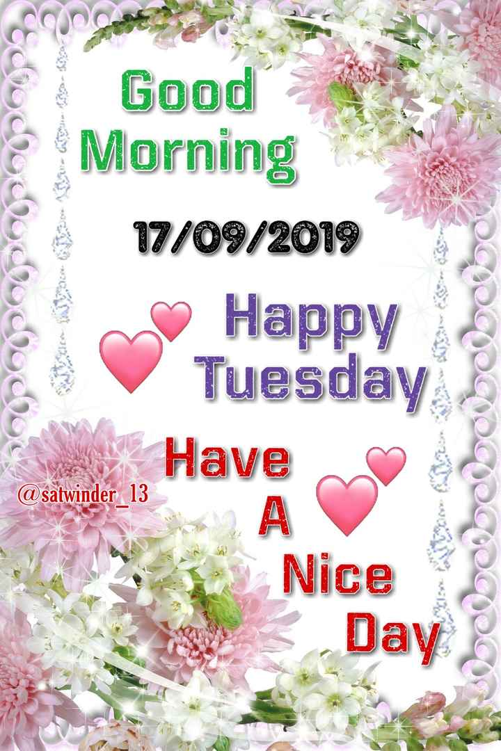 🌞 Good Morning🌞 - @ chocollo Good Morning 17 / 09 / 2018 Happy Tuesday Have OCDCCCCDCDC @ satwinder 13 Nice Day - ShareChat