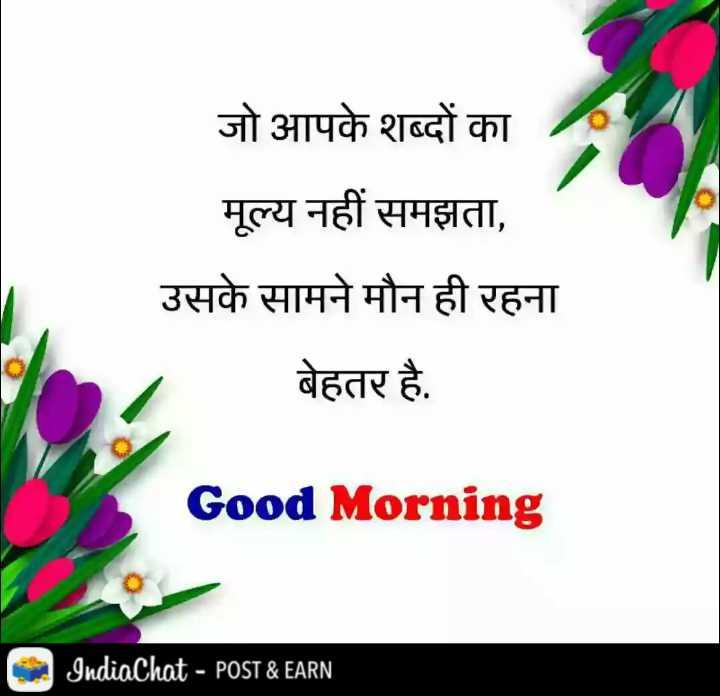 🌞 Good Morning🌞 - जो आपके शब्दों का मूल्य नहीं समझता , उसके सामने मौन ही रहना बेहतर है . Good Morning IndiaChat - POST & EARN - ShareChat