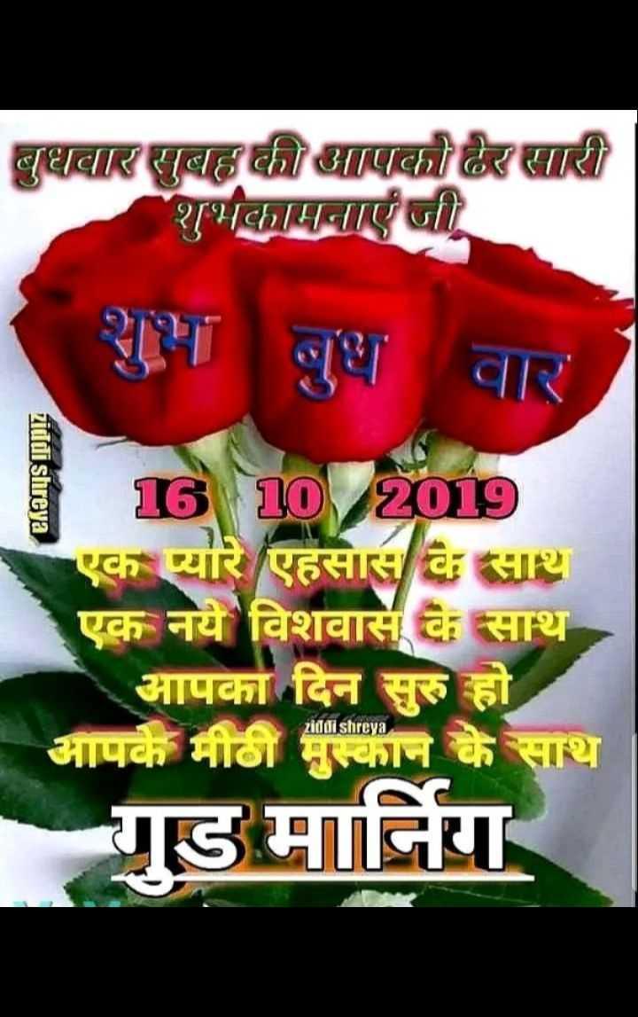 🌞 Good Morning🌞 - बुधवार सुबह की आपको ढेर सारी शुभकामनाएं जी शुभ बुधवार ziddi shreya 16 10 / 2019 एक प्यारे एहसास के साथ एक नये विशवास के साथ आपका दिन सुरु हो आपके मीठी मुस्कान के साथ गुड मानिंग - ShareChat