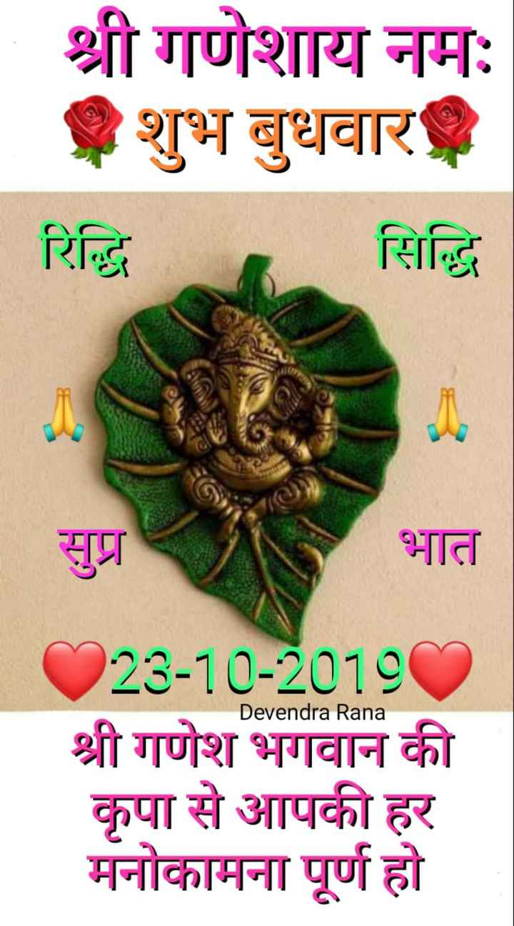 🌞 Good Morning🌞 - श्री गणेशाय नमः शुभ बुधवार रिद्धि सिद्धि सुप्र भात Devendra Rana 223 - 10 - 20180 श्री गणेश भगवान की कृपा से आपकी हर मनोकामना पूर्ण हो - ShareChat
