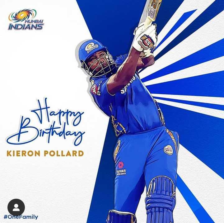 🎂HBD கிரான் பொல்லார்ட் - MUMBAI INDIANS Sund b Happy Birthday KIERON POLLARD MWAN # OneFamily - ShareChat
