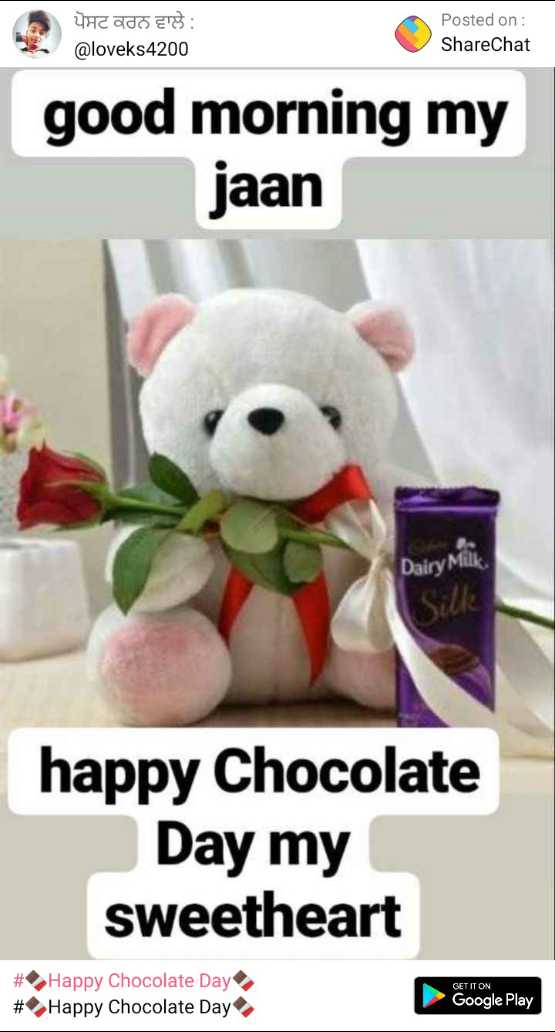 🍫Happy Chocolate Day🍫 - ਪੋਸਟ ਕਰਨ ਵਾਲੇ : @ loveks 4200 Posted on : ShareChat good morning my jaan Dairy Milk Silk happy Chocolate Day my sweetheart # # Happy Chocolate Day Happy Chocolate Day GET IT ON Google Play - ShareChat