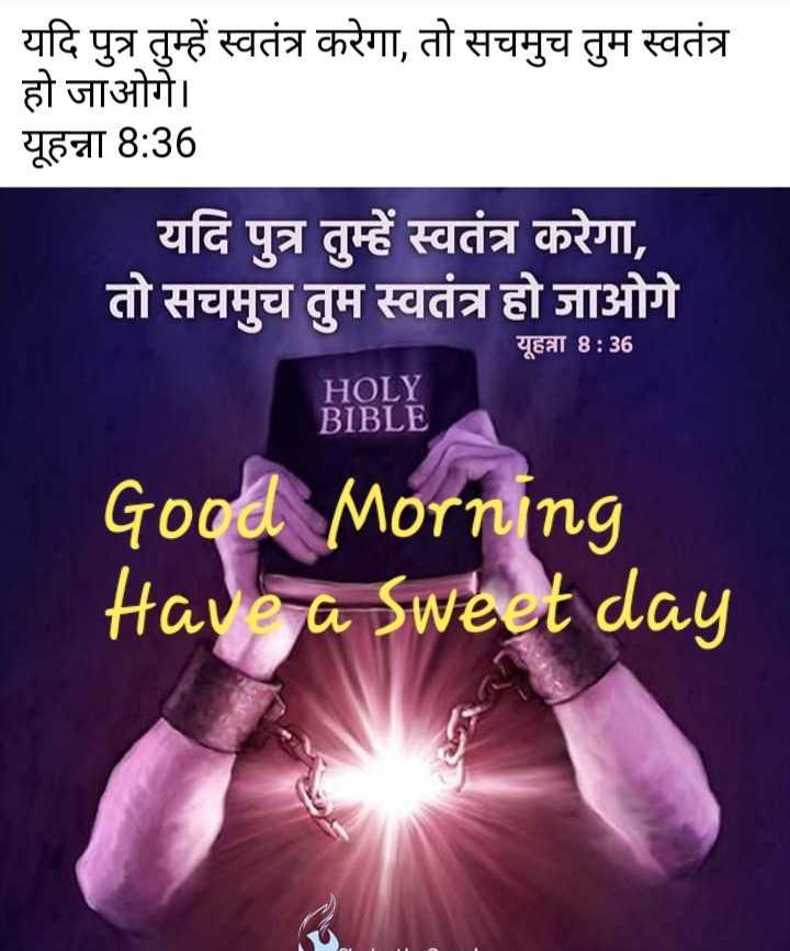 ⛪ Holy Jesus - यदि पुत्र तुम्हें स्वतंत्र करेगा , तो सचमुच तुम स्वतंत्र हो जाओगे । यूहन्ना 8 : 36 यदि पुत्र तुम्हें स्वतंत्र करेगा , तो सचमुच तुम स्वतंत्र हो जाओगे यूहन्ना 8 : 36 HOLY BIBLE Good Morning Have a sweet day - ShareChat