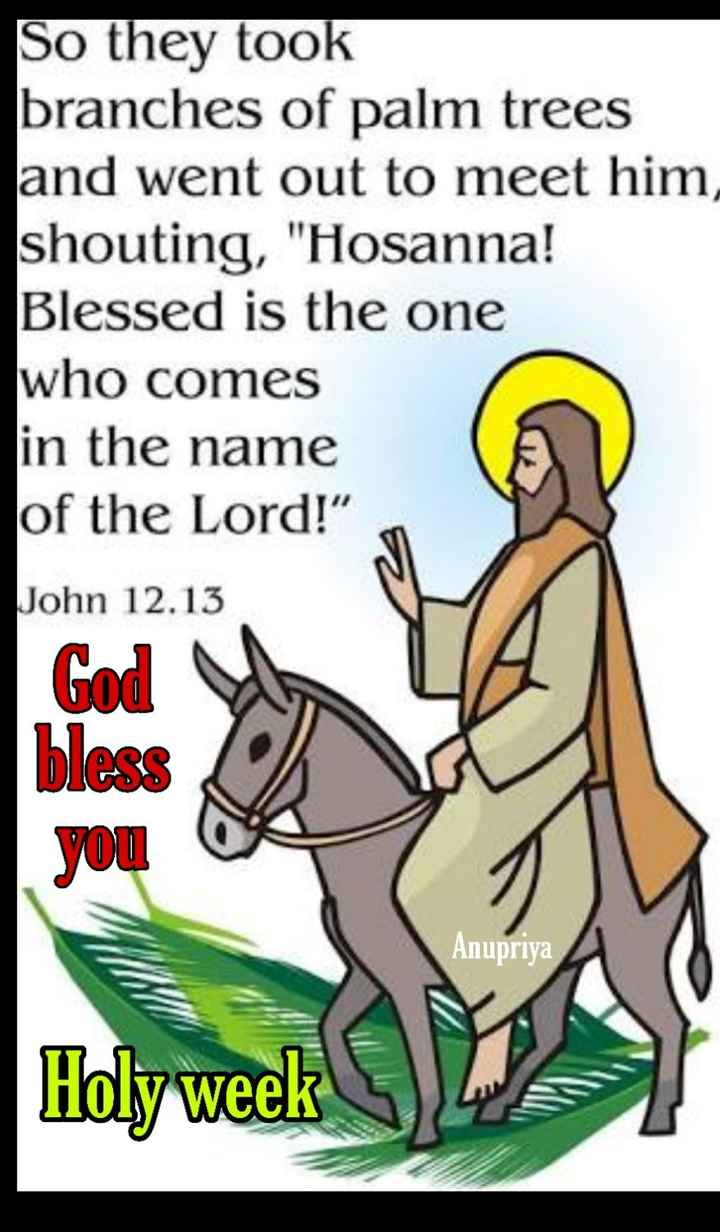 ⛪ Holy Jesus - So they took branches of palm trees and went out to meet him , shouting , Hosanna ! Blessed is the one who comes in the name of the Lord ! John 12 . 13 God bless you Anupriya - ShareChat