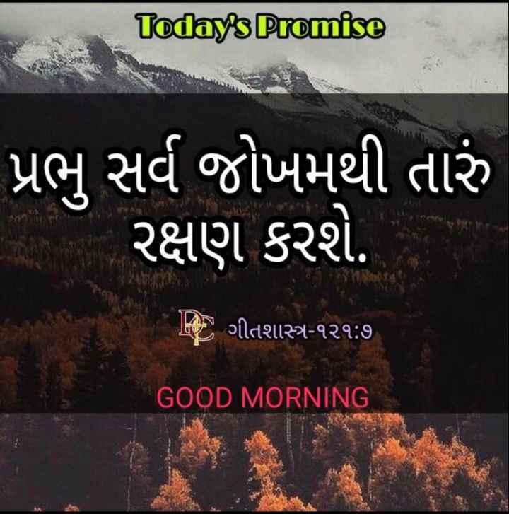 ⛪ Holy Jesus - Today ' s Promise ' પ્રભુ સર્વ જોખમથી તારું રક્ષણ કરશે . Jત ) ગીતશાસ્ત્ર - ૧૨૧ : ૭ GOOD MORNING - ShareChat