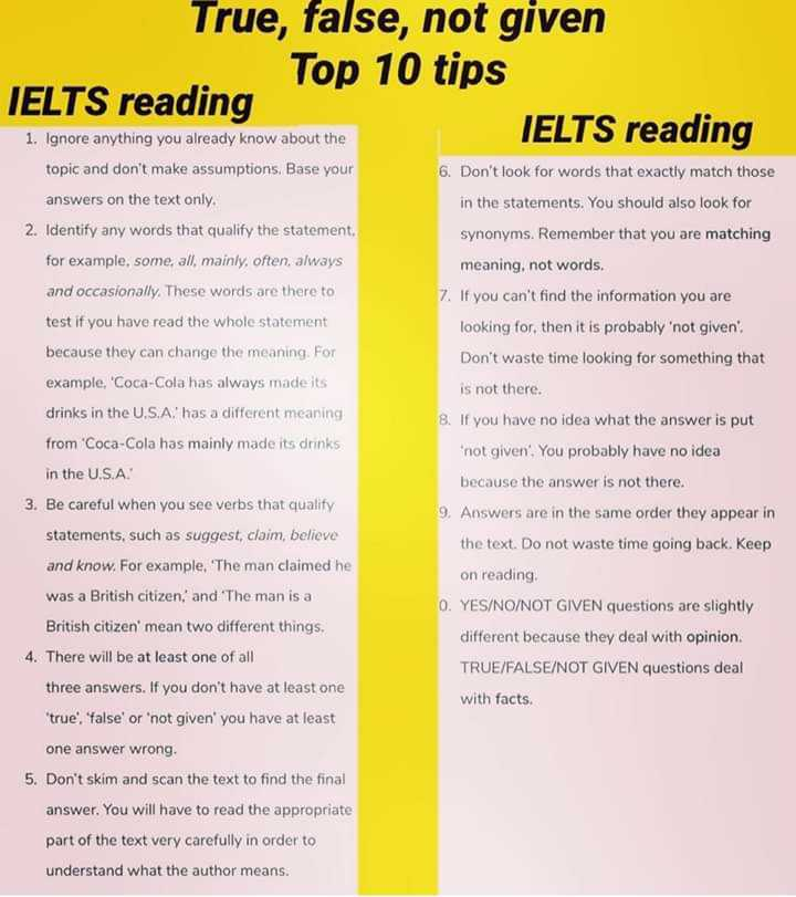 📚 IELTS ਦੀ ਤਿਆਰੀ - True , false , not given Top 10 tips IELTS reading IELTS reading 1 . Ignore anything you already know about the topic and don ' t make assumptions . Base your answers on the text only 2 . Identify any words that qualify the statement 6 . Don ' t look for words that exactly match those in the statements . You should also look for for example , some , all , mainly , often , always and occasionally . These words are there to test if you have read the whole statement synonyms . Remember that you are matching meaning , not words . 7 . If you can ' t find the information you are looking for , then it is probably ' not given ' . Don ' t waste time looking for something that is not there . 8 . If you have no idea what the answer is put because they can change the meaning . For example , Coca - Cola has always made its drinks in the U . S . A . ' has a different meaning from ' Coca - Cola has mainly made its drinks in the U . S . A 3 . Be careful when you see verbs that qualify statements , such as suggest , claim , believe and know . For example , ' The man claimed he was a British citizen . ' and The man is a British citizen ' mean two different things . 4 . There will be at least one of all * not given . You probably have no idea because the answer is not there . 9 . Answers are in the same order they appear in the text . Do not waste time going back . Keep on reading YES / NO / NOT GIVEN questions are slightly different because they deal with opinion . TRUE / FALSE / NOT GIVEN questions deal three answers . If you don ' t have at least one true , ' false ' or ' not given ' you have at least with facts . one answer wrong , 5 . Don ' t skim and scan the text to find the final answer . You will have to read the appropriate part of the text very carefully in order to understand what the author means . - ShareChat