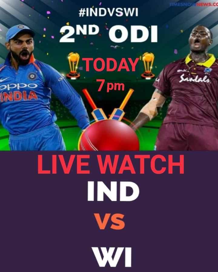 🏏IND VS WI 2nd ODI - TIMESNOXNEWS . CC # IŃDVSWI 2ND ODI TODAY Puk ОРРО INDIA 7pm LIVE WATCH IND VS WI - ShareChat