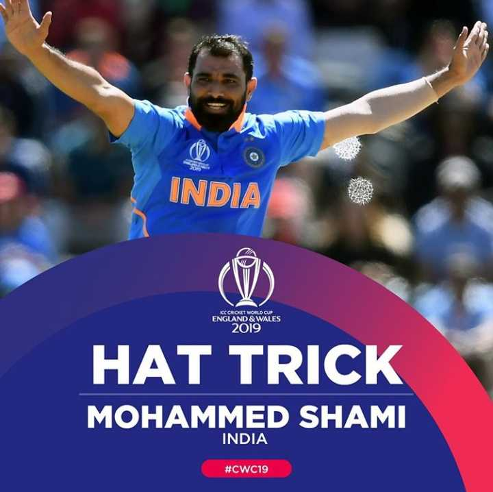 🏏IND vs AFG - INDIA KCC CRICKET WORLD CUP ENGLAND & WALES 2019 HAT TRICK MOHAMMED SHAMI INDIA # CWC19 - ShareChat