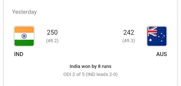 🇮🇳IND vs AUS 2nd ODI🏏 - Yesterday 242 250 ( 48 . 2 ) ( 49 . 3 ) IND AUS India won by 8 runs ODI 2 of 5 ( IND leads 2 - 0 ) - ShareChat