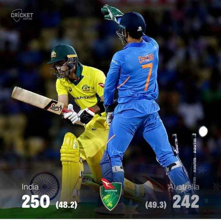 🇮🇳IND vs AUS 2nd ODI🏏 - CRICKET com . au SANTAS wned wres India Australia QANTAS ( 48 . 2 ) ( 49 . 3 ) 242 - ShareChat