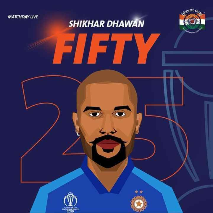 🏏IND vs AUS - erat arm WW MATCHDAY LIVE SHIKHAR DHAWAN FIFTY INLAND WALES 2019 - ShareChat