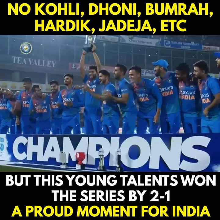 🏏 IND vs BAN - NO KOHLI , DHONI , BUMRAH , HARDIK , JADEJA , ETC and SAW domus TEA VALLEY PE JBYJU ' S NDIA 3YJU 5 JBYJU ' S INDIA Y ' S OSYJU ' S DIA DIA DIY QOY IND JUS NDA CHAMPIONS BUT THIS YOUNG TALENTS WON THE SERIES BY 2 - 1 A PROUD MOMENT FOR INDIA - ShareChat