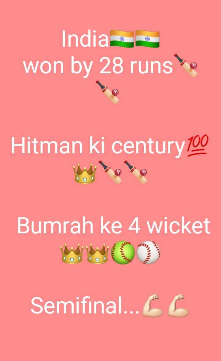 🏆 IND 🇮🇳 vs BAN 🇧🇩 - India , won by 28 runs • Hitman ki century 100 Bumrah ke 4 wicket Semifinal . . . CC - ShareChat