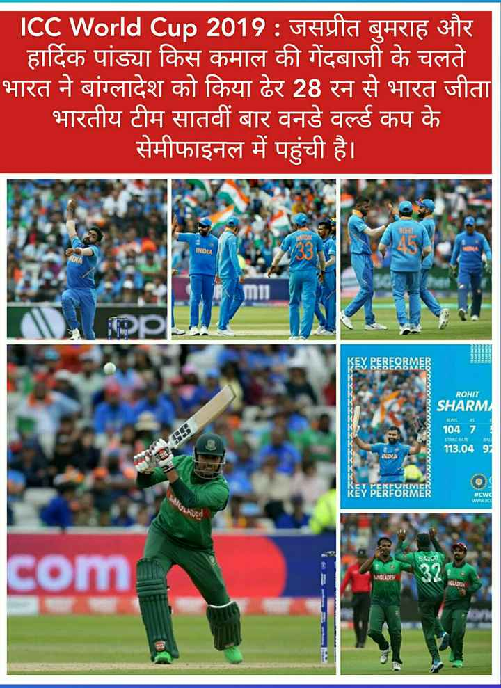 🏆 IND 🇮🇳 vs BAN 🇧🇩 -   ICC World Cup 2019 : जसप्रीत बुमराह और हार्दिक पांड्या किस कमाल की गेंदबाजी के चलते भारत ने बांग्लादेश को किया ढेर 28 रन से भारत जीता भारतीय टीम सातवीं बार वनडे वर्ल्ड कप के सेमीफाइनल में पहुंची है । । ROHI INDIA DIA TLAM INDUA । । । KEY PEREARMER ROHIT RUNS 45 4000000000000 SHARM 104 7 113 . 04 97 STRIKE RATE BAL INDIA KEY PERFORMER # Cwd WWW . BC SAIKA com UNGLADESH - ShareChat