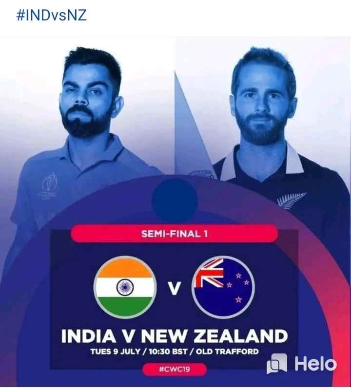 🏏IND vs NZ Live Score🔴 - # INDVSNZ SEMI - FINAL 1 INDIA V NEW ZEALAND TUES 9 JULY / 10 : 30 BST / OLD TRAFFORD # CWC19 - ShareChat