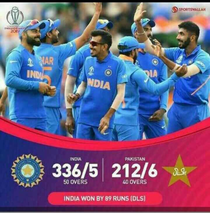 🏏IND vs PAK - S SPORTSWALLAH ENGLAND WE 20NO NDIA INDIA PAKISTAN O 336 / 5 212 / 6 se 50 OVERS 40 OVERS INDIA WON BY 89 RUNS ( DLS ) - ShareChat