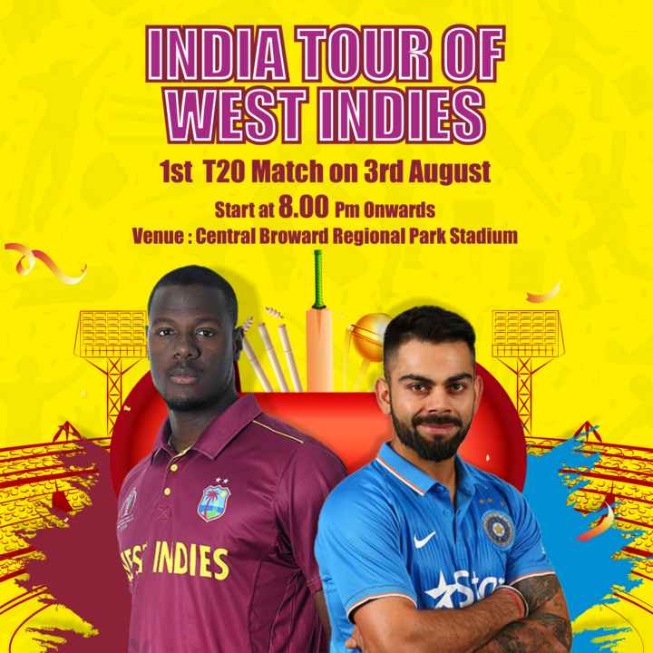 🏏 IND 🇮🇳 vs WI 🔴 1st T20 - INDIA TOUR OF WEST INDIES 1st T20 Match on 3rd August Start at 8 . 00 Pm Onwards Venue : Central Broward Regional Park Stadium 111IIE u o po incl SS INDIES - ShareChat