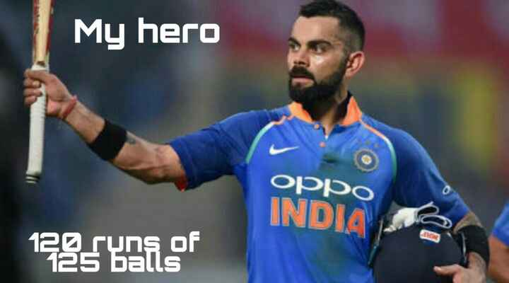 🏆 IND 🇮🇳 vs WI 🔴 - My hero OPPO INDIA 120 runs of 125 balls - ShareChat