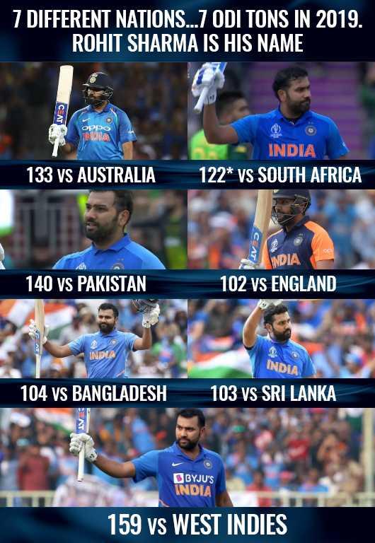 IND vs WI - 7 DIFFERENT NATIONS . . . 7 ODI TONS IN 2019 . ROHIT SHARMA IS HIS NAME орро INDIA INDIA 122 * VS SOUTH AFRICA 133 VS AUSTRALIA 140 vs PAKISTAN NDIA 102 vs ENGLAND INDUS INDIA 104 vs BANGLADESH 103 VS SRI LANKA BYJU ' S INDIA 159 vs WEST INDIES - ShareChat