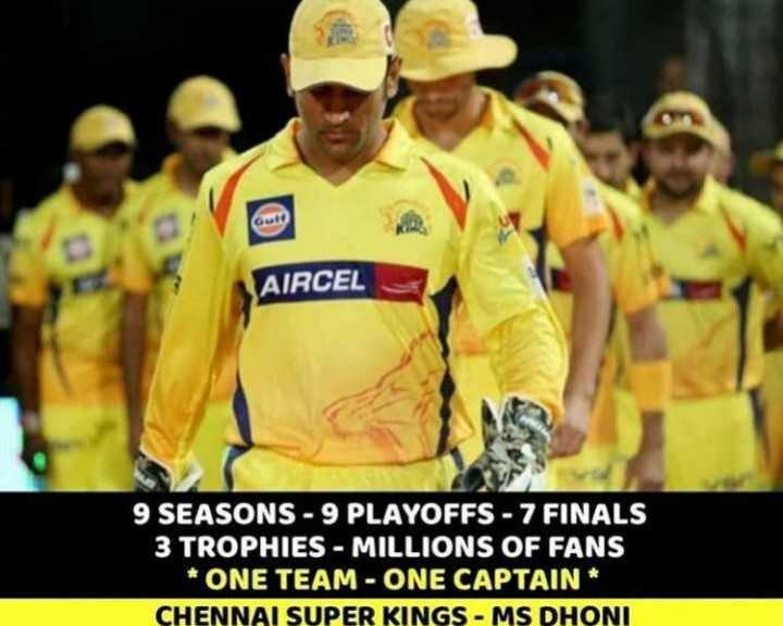 🏏IPL फॅन - AIRCEL 9 SEASONS - 9 PLAYOFFS - 7 FINALS 3 TROPHIES - MILLIONS OF FANS * ONE TEAM - ONE CAPTAIN CHENNAI SUPER KINGS - MS DHONI - ShareChat