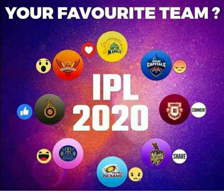 🏏IPL बोली - YOUR FAVOURITE TEAM ? DELIT CAPITALS SUBSCRS IPS KINGS EXIS COMMENT * 2020 & - SHARE ROYALS PAI INDIANS - ShareChat