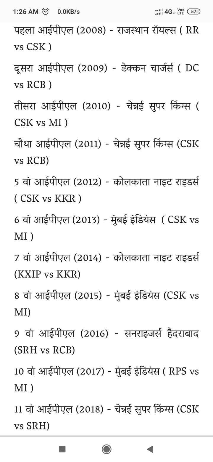 IPL समारोह - 1 : 26 AM © 0 . 0KB / s : : | 4G Ye ( 57 ) पहला आईपीएल ( 2008 ) - राजस्थान रॉयल्स ( RR vs CSK ) दूसरा आईपीएल ( 2009 ) - डेक्कन चार्जर्स ( DC vs RCB ) तीसरा आईपीएल ( 2010 ) - चेन्नई सुपर किंग्स ( CSK vs MI ) चौथा आईपीएल ( 2011 ) - चेन्नई सुपर किंग्स ( CSK vs RCB ) 5 वां आईपीएल ( 2012 ) - कोलकाता नाइट राइडर्स ( CSK vs KKR ) 6 वां आईपीएल ( 2013 ) - मुंबई इंडियंस ( CSK vs MI ) 7 वां आईपीएल ( 2014 ) - कोलकाता नाइट राइडर्स ( KXIP vs KKR ) 8 वां आईपीएल ( 2015 ) - मुंबई इंडियंस ( CSK vs MI ) 9 वां आईपीएल ( 2016 ) - सनराइजर्स हैदराबाद ( SRH vs RCB ) 10 वां आईपीएल ( 2017 ) - मुंबई इंडियंस ( RPS vs MI ) 11 वां आईपीएल ( 2018 ) - चेन्नई सुपर किंग्स ( CSK vs SRH ) - ShareChat
