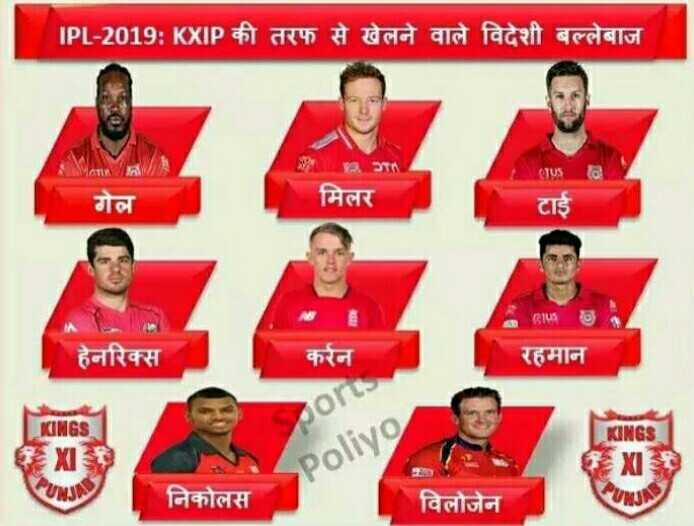 IPL समारोह - IPL - 2019 : KXIP की तरफ से खेलने वाले विदेशी बल्लेबाज TA CTUS गेल मिलर टाई 15 हेनरिक्स करेन रहमान KINGS gor KINGS XI Poliyo XI निकोलस विलौजेन - ShareChat
