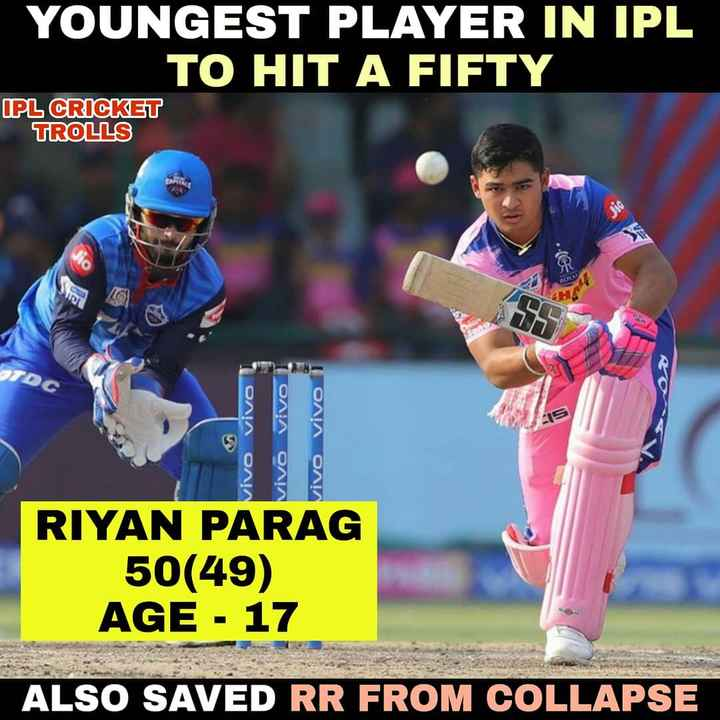 🏏 IPL ਚੁਟਕਲੇ - YOUNGEST PLAYER IN IPL TO HIT A FIFTY IPL CRICKET TROLLS vivo vivo vivo 1 vivo vivo i vivo RIYAN PARAG 50 ( 49 ) AGE - 17 ALSO SAVED RR FROM COLLAPSE - ShareChat