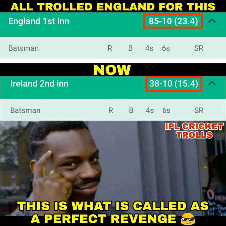 🤣 IPL મીમ્સ - ALL TROLLED ENGLAND FOR THIS England 1st inn 85 - 10 ( 23 . 4 ) Batsman R B 4s 6s SR NOW Ireland 2nd inn 38 - 10 ( 15 . 4 ) Batsman R B 4s 6S SR IPL CRICKET TROLLS PER THIS IS WHAT IS CALLED AS A PERFECT REVENGE O - ShareChat