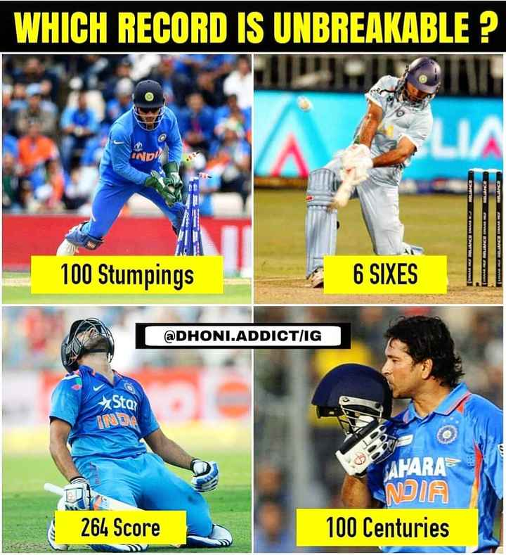 📷IPL ଫୋଟୋ - WHICH RECORD IS UNBREAKABLE ? IND ( MARILANO MAMA MEREU 100 Stumpings 6 SIXES @ DHONI . ADDICT / IG > Star AHARA NDIA 100 Centuries 264 Score - ShareChat
