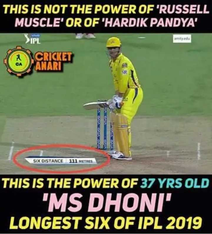 🏏 IPL ବେଷ୍ଟ ଛକା - THIS IS NOT THE POWER OF ' RUSSELL MUSCLE ' OR OF HARDIK PANDYA ' VIVO IPI amity edu CRICKET ANARI SIX DISTANCE 111 METRES THIS IS THE POWER OF 37 YRS OLD ' MS DHONI LONGEST SIX OF IPL 2019 - ShareChat