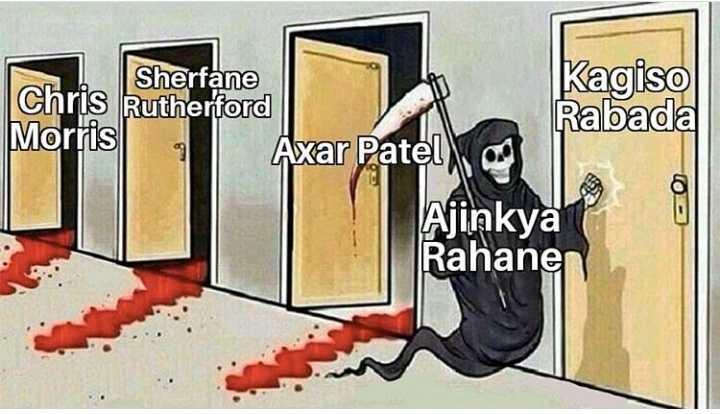 🤣 IPL ட்ரோல் - Sherfane Kagiso Chris Rutherford Morris Rabada Axar Patel , Ajinkya Rahanen - ShareChat