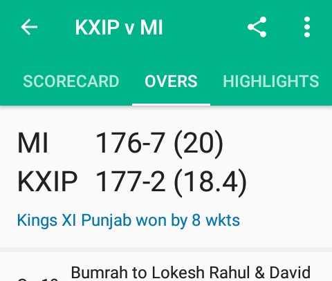 IPL ಟ್ರೋಲ್ಸ್ - + KXIP V MI : SCORECARD OVERS HIGHLIGHTS MI 176 - 7 ( 20 ) KXIP 177 - 2 ( 18 . 4 ) Kings XI Punjab won by 8 wkts Bumrah to Lokesh Rahul & David - ShareChat