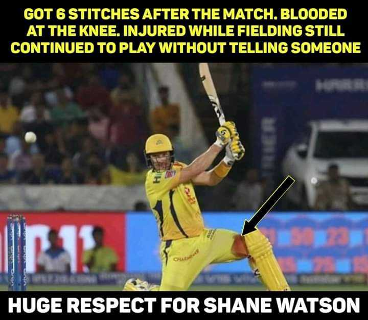 🏏IPL ഫോട്ടോസ് - GOT 6 STITCHES AFTER THE MATCH . BLOODED AT THE KNEE . INJURED WHILE FIELDING STILL CONTINUED TO PLAY WITHOUT TELLING SOMEONE HUGE RESPECT FOR SHANE WATSON - ShareChat