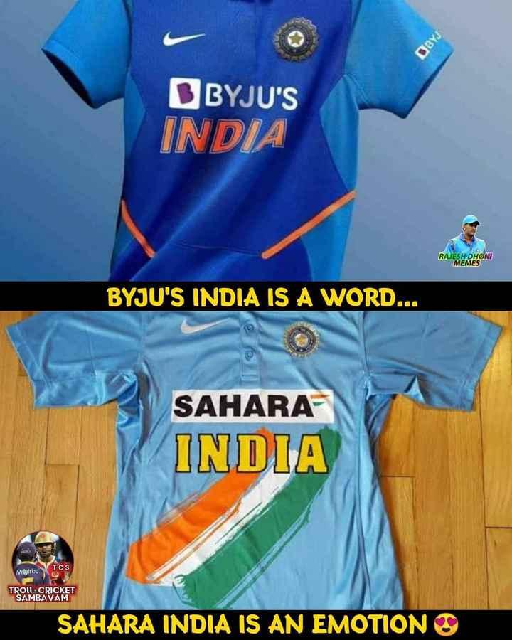 🏏 IPL-2019 - DBYJU ' S INDIA RAJESH DHONI MEMES BYJU ' S INDIA IS A WORD . . . SAHARA INDIA Møtrix VTCS TROLL CRICKET SAMBAVAM SAHARA INDIA IS AN EMOTION - ShareChat
