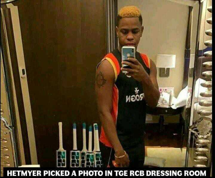 IPL 2019 - MOOC HETMYER PICKED A PHOTO IN TGE RCB DRESSING ROOM - ShareChat