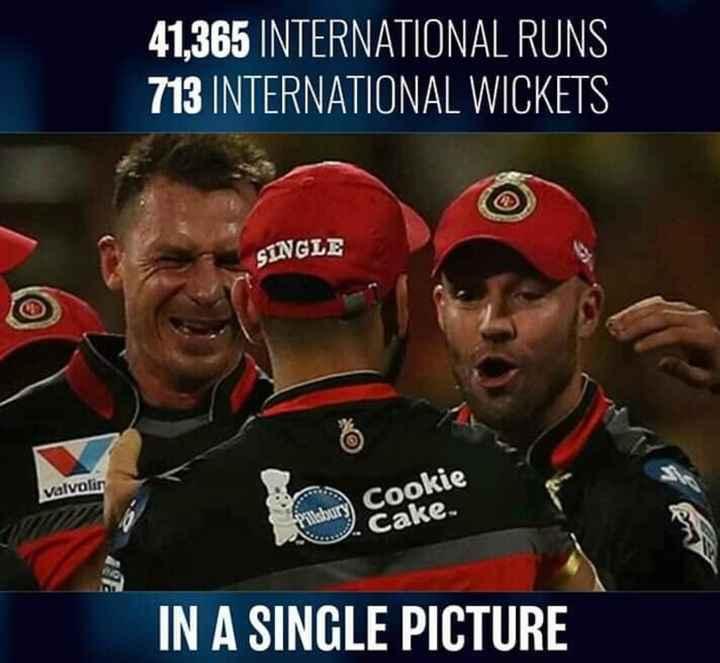 🏏 IPL-2019 - 41 , 365 INTERNATIONAL RUNS 713 INTERNATIONAL WICKETS SINGLE Valvolin Cookie Cake IN A SINGLE PICTURE - ShareChat