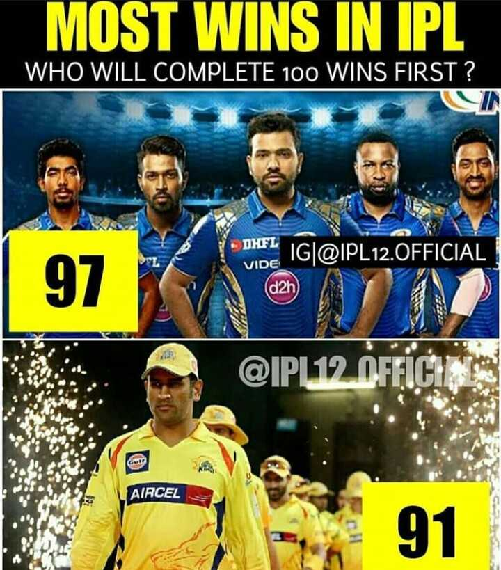 IPL 2019 - MOST WINS IN IPL WHO WILL COMPLETE 100 WINS FIRST ? IG @ IPL12 . OFFICIAL DHFL VIDE ( d2h @ IPL 12 OFFICI AIRCEL 91 - ShareChat