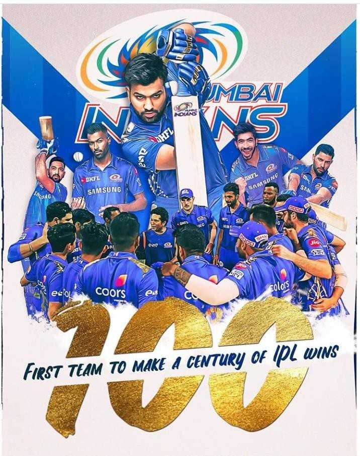 🏏IPL 2019 - UMBAI VEN NOLANS asa DKFL SAMSUNG OMEL SAMSUNG DODO ese ecocoors colors FIRST TEAM TO MAKE A CENTURY OF IPL WINS - ShareChat