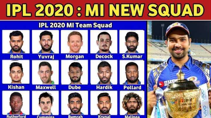 IPL news - IPL 2020 : MI NEW SQUAD IPL 2020 MI Team Squad Rohit Yuvraj Morgan Decock S . Kumar Kishan Maxwell Dube H ardik Pollard vivo Vivo JIVE Rutherford Cummins Bumrah Krunal Malinga - ShareChat