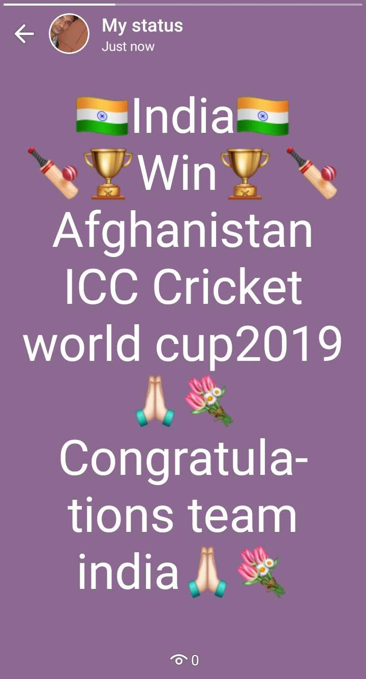 🏏India vs Afghanistan🏏 - My status Just now o India ! Win ! Afghanistan ICC Cricket world cup 2019 Congratula tions team india i , so DO - ShareChat
