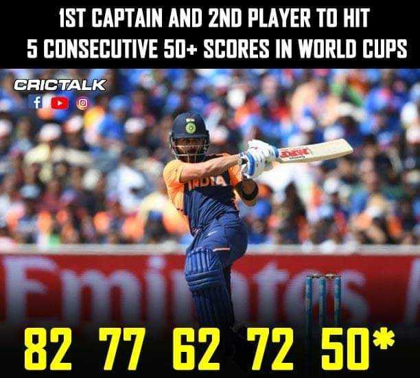 🏏India vs England🏏 - IST CAPTAIN AND 2ND PLAYER TO HIT 5 CONSECUTIVE 50 + SCORES IN WORLD CUPS CRICTALK 82 77 62 72 50 * - ShareChat