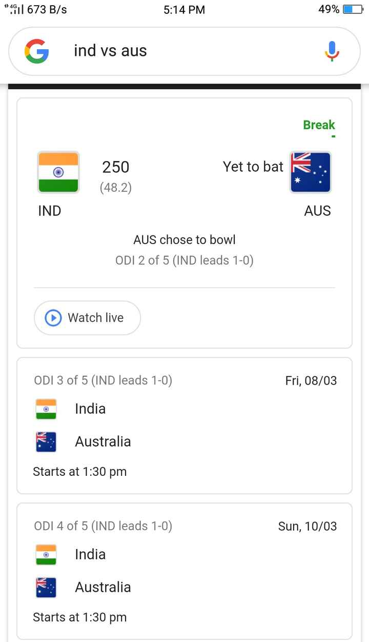 🏏Ind vs Aus 2nd ODI - 1 4911 673 B / s 5 : 14 PM 49 % D ind vs aus Break Yet to bat 250 ( 48 . 2 ) IND AUS AUS chose to bowl ODI 2 of 5 ( IND leads 1 - 0 ) Watch live ODI 3 of 5 ( IND leads 1 - 0 ) Fri , 08 / 03 India Australia Starts at 1 : 30 pm ODI 4 of 5 ( IND leads 1 - 0 ) Sun , 10 / 03 India . : Australia Starts at 1 : 30 pm - ShareChat