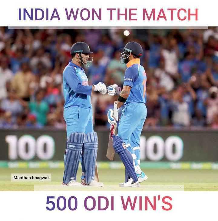 🏏Ind vs Aus 2nd ODI - INDIA WON THE MATCH LA Manthan bhagwat 500 ODI WIN ' S - ShareChat
