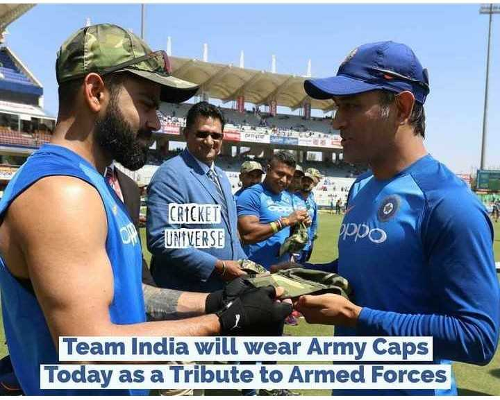 🏏Ind vs Aus 3rd ODI - CRICKET UNIVERSE oppo Team India will wear Army Caps Today as a Tribute to Armed Forces - ShareChat