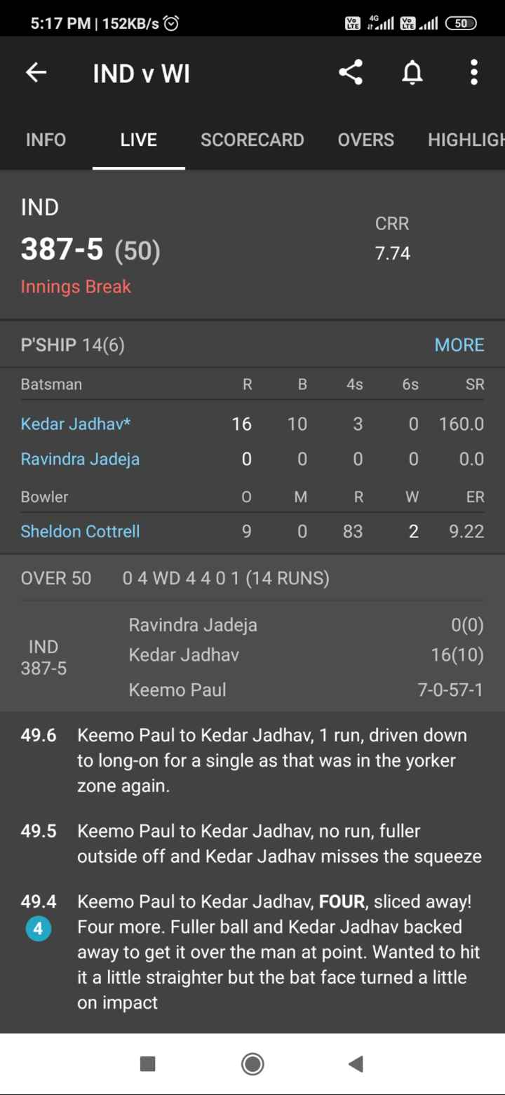 Ind vs WI 2 nd ODI - 5 : 17 PM | 152KB / s © he couleuil 50 IND v WI A : INFO LIVE SCORECARD OVERS HIGHLIGH CRR IND 387 - 5 ( 50 ) Innings Break 7 . 74 P ' SHIP 14 6 ) Batsman B Kedar Jadhav * R 16 0 0 9 Ravindra Jadeja 10 0 M 0 4s 3 0 R 83 MORE 6s SR 0 160 . 0 0 0 . 0 W ER 2 9 . 22 Bowler Sheldon Cottrell OVER 50 04 WD 4401 ( 14 RUNS ) IND 387 - 5 Ravindra Jadeja Kedar Jadhav Keemo Paul 0 ( 0 ) 16 ( 10 ) 7 - 0 - 57 - 1 49 . 6 Keemo Paul to Kedar Jadhav , 1 run , driven down to long - on for a single as that was in the yorker zone again . 49 . 5 Keemo Paul to Kedar Jadhav , no run , fuller outside off and Kedar Jadhav misses the squeeze 49 . 4 Keemo Paul to Kedar Jadhav , FOUR , sliced away ! Four more . Fuller ball and Kedar Jadhav backed away to get it over the man at point . Wanted to hit it a little straighter but the bat face turned a little on impact - ShareChat